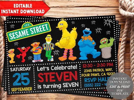 Best 25 sesame street invitations ideas on pinterest sesame instant download sesame street invitation sesame street pronofoot35fo Choice Image