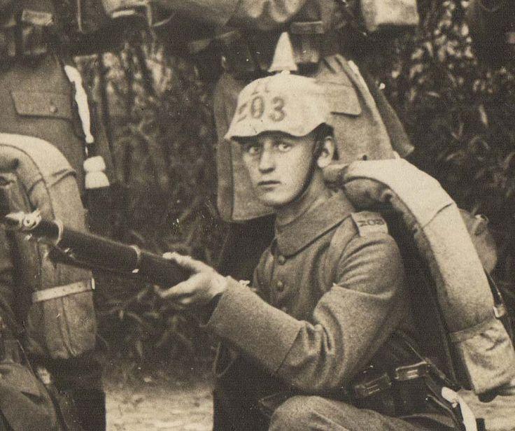 WW1 German photo detail. Spiked Helmet.