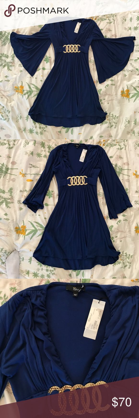 Blue Long Open Sleeve Dress Deep V Sz S NWT Beautiful NWT royal blue dress by Sky. Size medium. Deep V, $141. very Flattering, Flowy, & Fun dress! ♥️♥️currently selling nearly everything I own & putting it towards post-grad travel funds and charity. make a reasonable offer or bundle and I will happily accept & show love to your page! Thanks for stopping by & happy shopping!🛍💌 Sky Dresses Long Sleeve