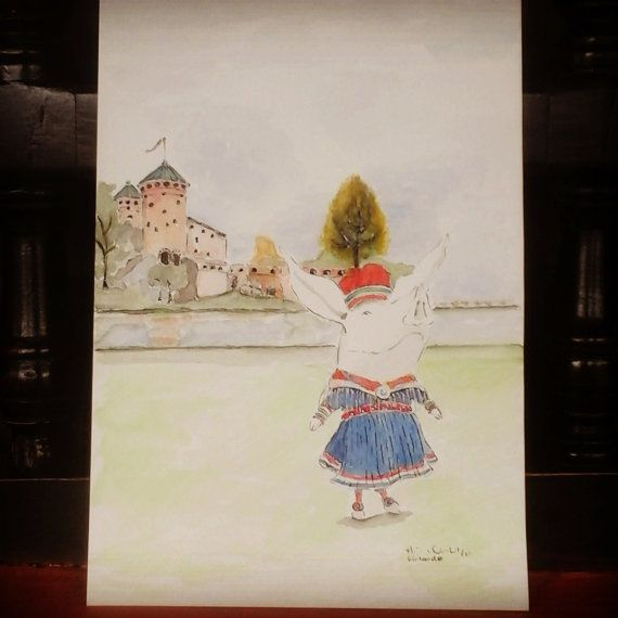 Olivia in Finland / Original in Watercolor / 9  6 by MAramburo
