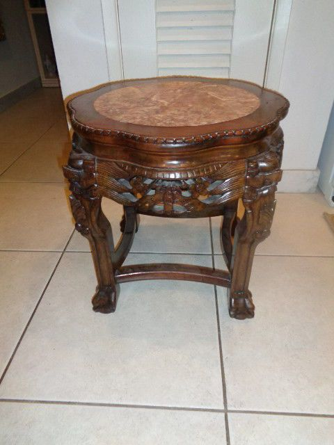 antique chinese hand carved pedestal table with claw feet and inlay rh pinterest com
