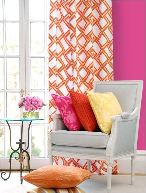 I like the pink with the orange curtains