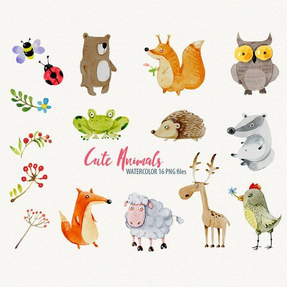 Watercolor Animals Clipart Sweet Animals Watercolor Clipart Cute