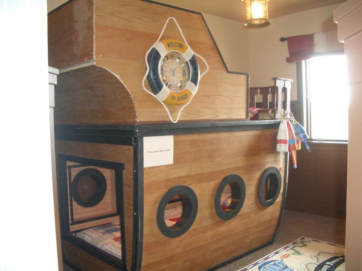 Pirate ship bunk beds bunk beds pinterest dads for Pirate bed with slide