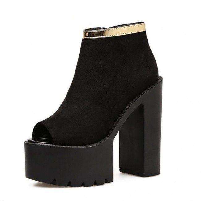 <b>Black</b> Suede <b>Peep Toe</b> Cleated <b>Platform</b> Chunky Heel Gold Trim Boots