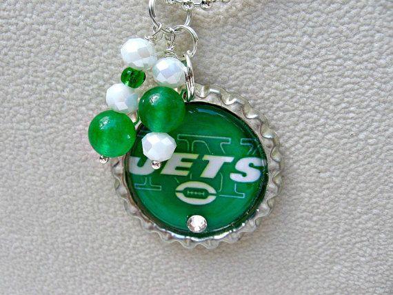 NFL New York Jets Pendant Necklace by SportsJewelryStudio on Etsy.  More teams available!  etsy.com/shop/sportsjewelrystudio.  $10.00