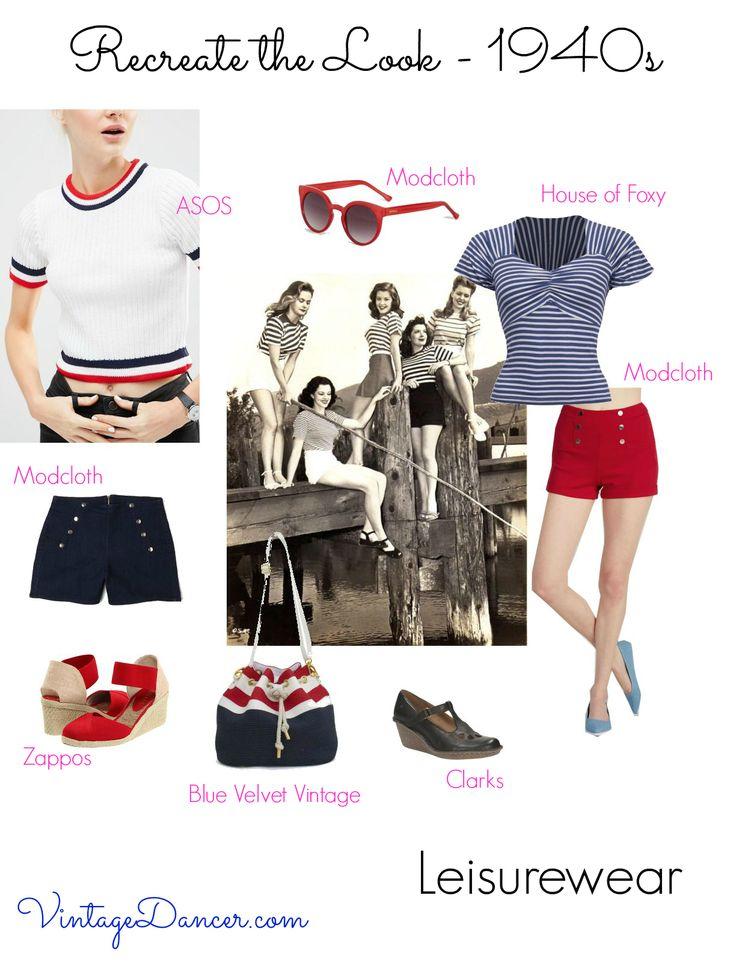 Команда с высокой талией шорты с полосатой верхней для 1940-х годов вдохновил случайный взгляд на VintageDancer.com/1940s~~pobj