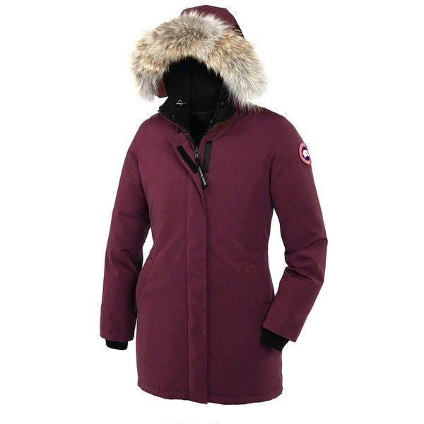 Canada Goose 'Victoria' Slim Fit Down Parka with Genuine Coyote Fur... (16.745.750 VND) ❤ liked on Polyvore featuring outerwear, coats, bordeaux, fur hooded coat, hooded parka, fur trimmed parka, fur-trimmed coat and purple fur coat