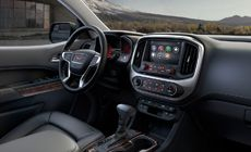 The 2015 Canyon small pickup truck's interior with quiet cabin engineering