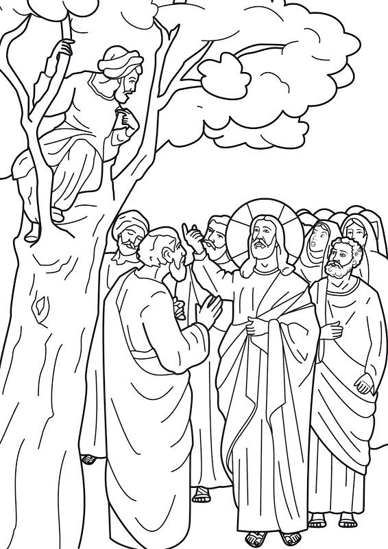 Jesus Calling Zacchaeus To Come Down From The Tree Bible Coloring Page