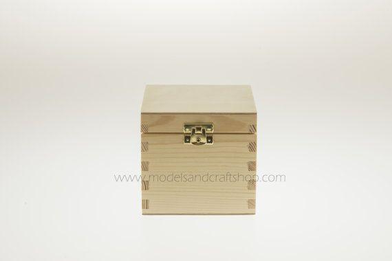 Unfinished Wood Box Tea Box 11.5x11.5x10.5cm by ModelsAndCraftShop