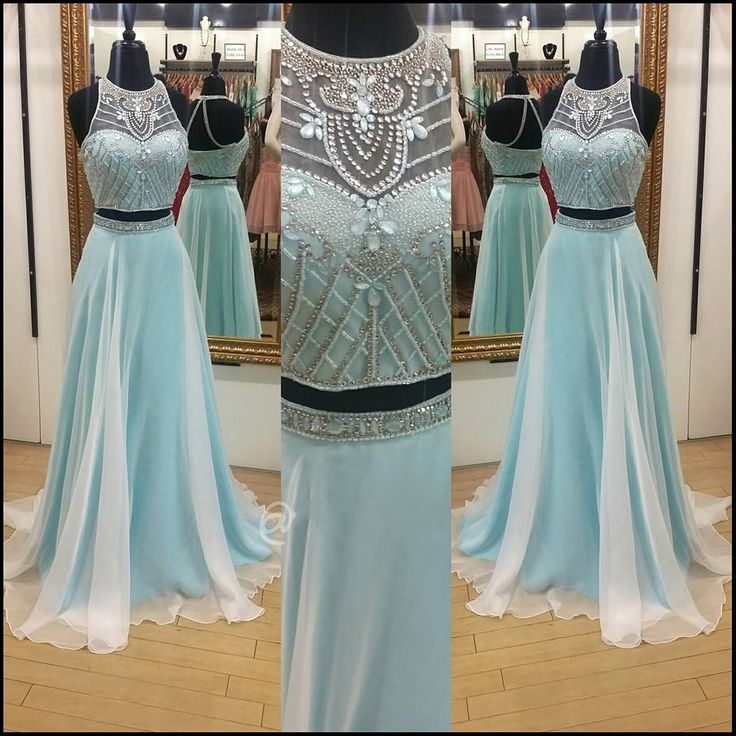 Find More Prom Dresses Information about Long Light Blue Prom Dress 2016 Two Pieces Prom Gowns with Sweep Train Custom Made Country Prom Dresses,High Quality dresse,China dress shose Suppliers, Cheap gown meaning from Customize Wedding & Event Dresses on Aliexpress.com