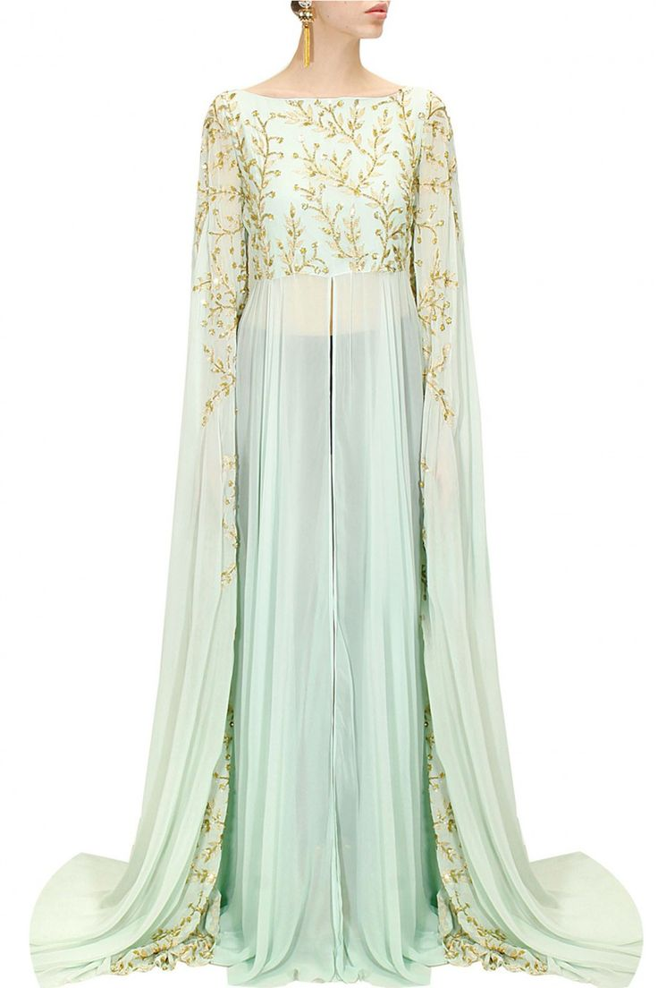 PRATHYUSHA GARIMELLA Powder blue embroidered cape hands gown available only at Pernia's Pop-Up Shop.