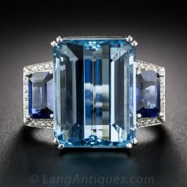Fine Aquamarine, Sapphire, and Diamond Vintage Ring