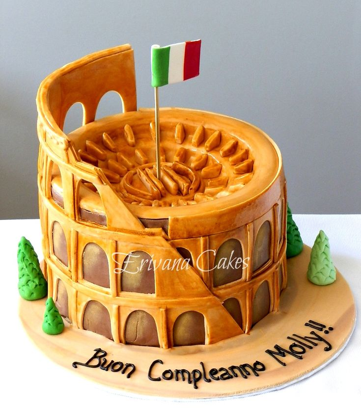 Coliseum-Shaped Cake Topped with Italian Flag