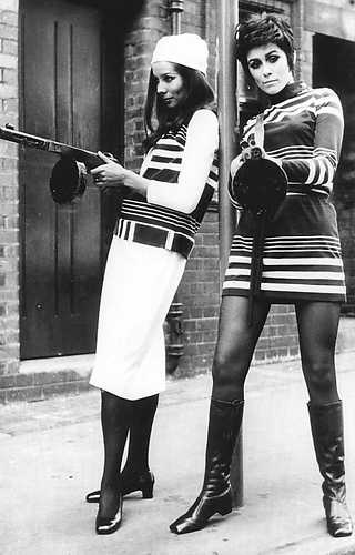 White jersey maxi dress with striped vest, and black and white striped jersey mini dress, both by Marlborough, British, spring 1967.