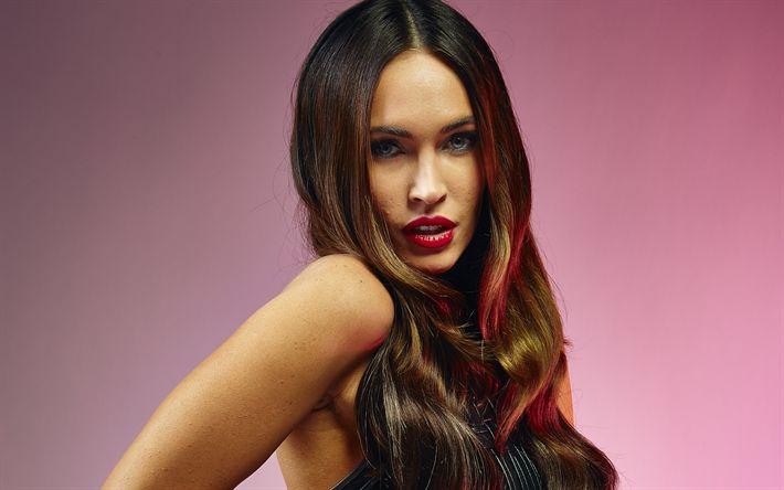 Download wallpapers Megan Fox, 4k, portrait, make-up, american actress, fashion model, black dress