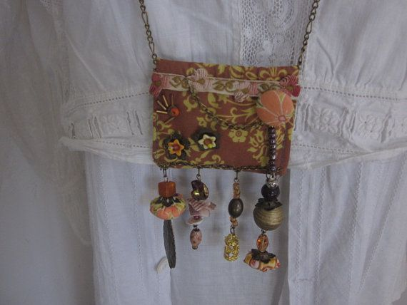 98 Fabric Necklace in Brown and Orange Upcycled Fabric by JoieLaVie