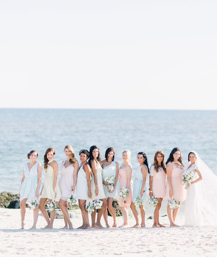 Gorgeous pastel bridesmaid dresses Beach Wedding From Joseph Lin Photography see more http://www.itakeyou.co.uk/wedding/beach-wedding-from-joseph-lin-photography/  pastel bridesmaids,pastel bridesmaid beach wedding,seaside pastel bridesmaids