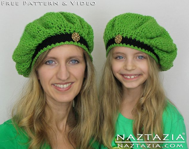 DIY Free Pattern and YouTube Tutorial Video Crochet St Saint Patrick Patricks Day Beret Beanie Hat and Shamrock Clover Lariat Necklace by Donna Wolfe from Naztazia