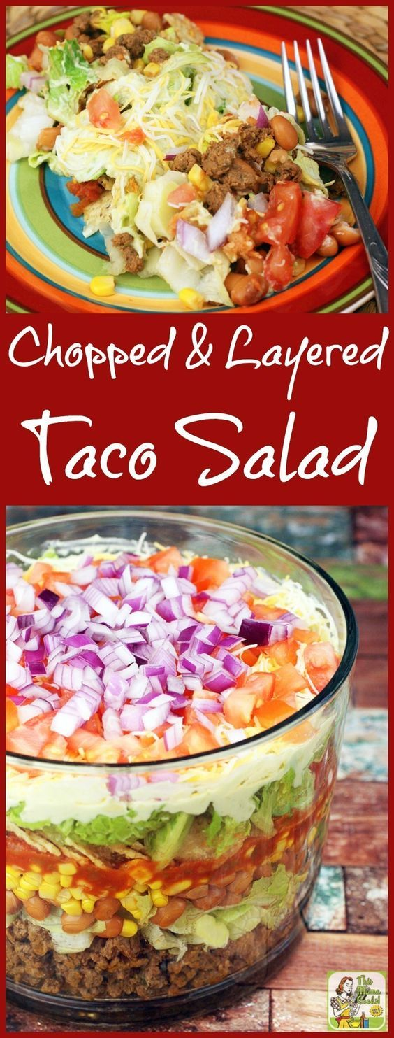Looking for a healthy taco salad recipe for dinner? Try this Chopped & Layered Taco Salad recipe! Serve it in a trifle bowl or punch bowl. Click to get this ideal potluck taco salad recipe! via @amnichols