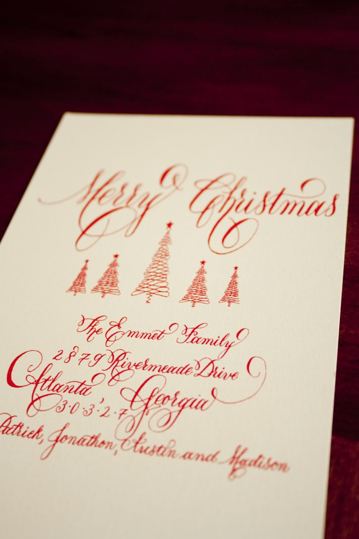 Calligraphy holiday cards done by gdecalligraphy cards Pinterest calligraphy