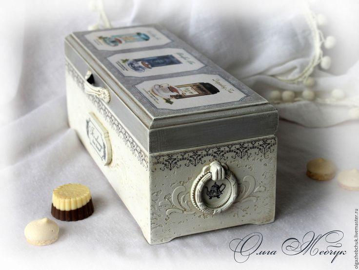 """Купить Чайная шкатулка """" Время для чая """" - серый, чайная коробка, короб для чая"""