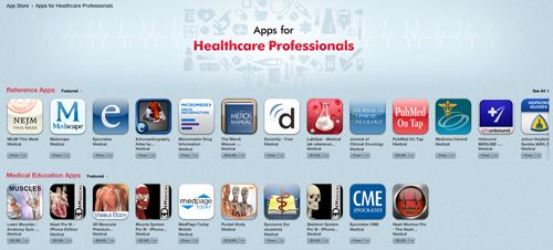"""Apple curates HCP iPhone and iPad apps -    """"Joining Apple's lists of its professed favourite apps for kids, parents and movie lovers, the iTunes App Store now includes a special collection of apps for healthcare professionals.""""    When will it come to the UK App Store?"""