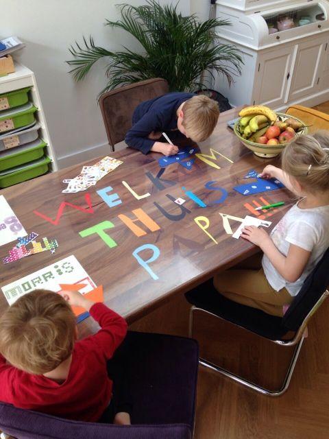 Wat een leuke thuiskomst met deze speciale tafel! Gezield door Laura en haar kinderen uit Hilversum. www.tafelziel.nl