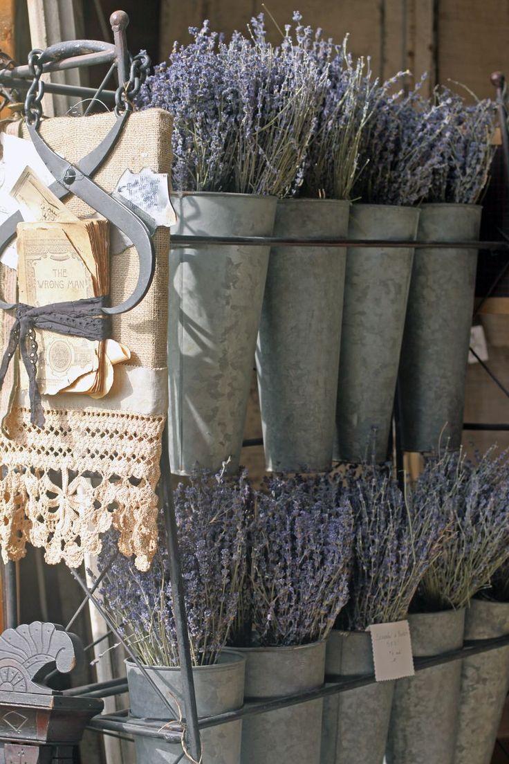 great French flower buckets in zinc