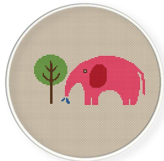 Buy 4 get 1 free ,Buy 6 get 2 free,Cross stitch pattern, Cross-Stitch PDF,a elephant watering a tree,zxxc0249. $4.50, via Etsy.