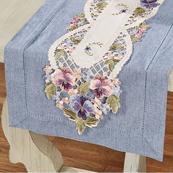 Hand Purple Flower Embroidery Bobbin Lace Cotton White Table Topper Placemat
