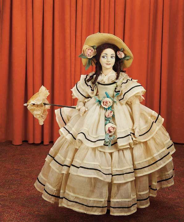 . Italian Felt Portrait Doll of Spanish Actress Raquel Meller by Lenci with Unique Facial Sculpture View Catalog Item - Theriaults Antique Doll Auctions