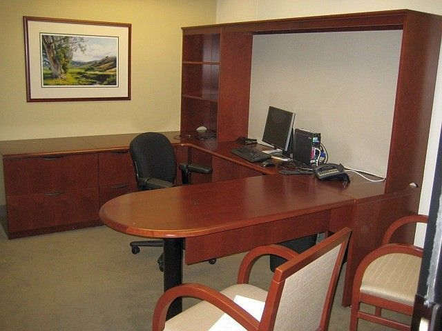 Used Steelcase cherry wood u-shaped executive desk office suite. Get a  quote today