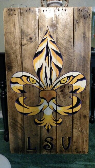 LSU tiger fleur de lis painted on wood pallet board