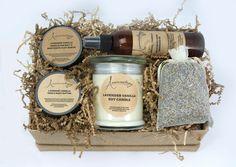 Cesta de regalo Spa menta   Relax Spa regalo cesta masaje aceite-Himalaya sal exfoliante cuerpo mantequilla soya vela lavanda bolsita  Remojo, frote y