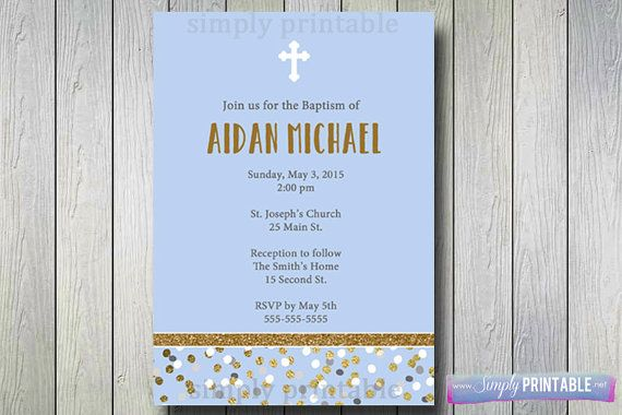 Baptism Invite 1st Communion Invitation Gold by simplyprintable
