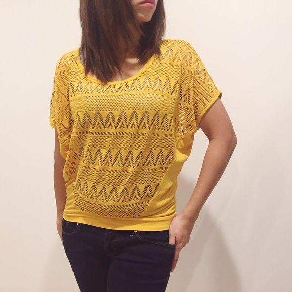 🎉1 Hour SALE🎉Crochet Top Mustard yellow batwing crochet top. love on a hanger Tops