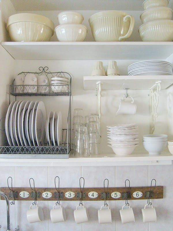 I like the hanging coffee cups and stand up plates. I need to rearrange my kitchen shelves