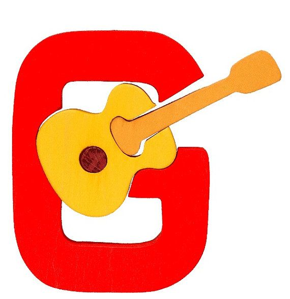Montessori  Waldorf wooden puzzle letter G made by by Ludimondo