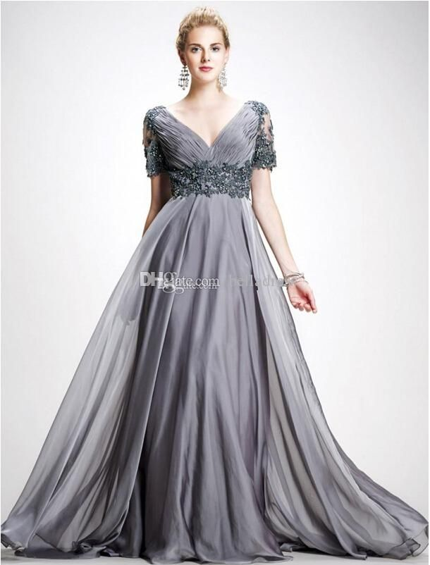 Show your best to all people even in the evening and then get  2015 new plus size mother of the bride dress is elegant gray v-neck unbacked formal evening dress floor length chiffon dress with short slee in belladress and choose wholesale knee length evening dresses,ladies dress online and ladies evening wear on DHgate.com.