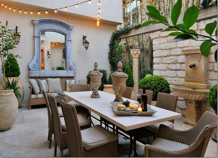 courtyard: Dining Area, Riviera, Outdoor Living, Outdoor Rooms, Cote De Texas, Dinners Parties, Backyard, Outdoor Gardens, Outdoor Spaces