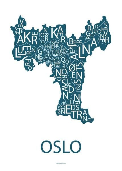 Plakat med stilig typografisk kart av Oslo.