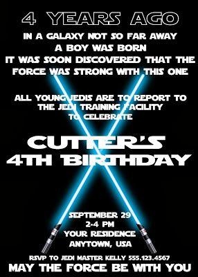 Star Wars Birthday Party invite