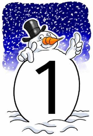 Cijfers 1 t/m 20 in winterstijl en veel gratis downloads: getallen, Romeinse cijfers, klok etc. Leuke site!