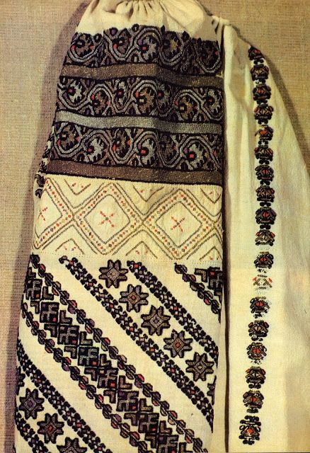 The Bukovynian women refer to the embroidery of the Podillians just to the north as being 'sad', because it is almost completely black. Oddly, the same is true of much of the embroidery of the Romanians to the south, although the two styles are very different. There are usually vertical rows of motifs embroidered on both the front and back of the chemise top.