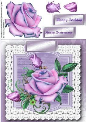 Beautiful Lilac roses on a lace square  on Craftsuprint - Add To Basket!