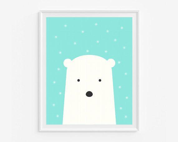 Baby+polar+bear+print+Winter+illustration+por+LittleIvysPlayhouse