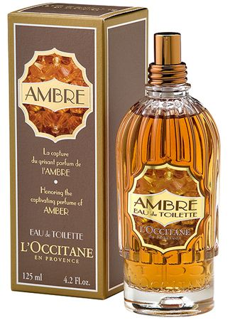 Amber by L`Occitane en Provence is an aromatic and balsamic Oriental Woody fragrance with top notes of bergamot and freesia, middle notes of labdanum and tonka, and the base is amber, vanilla and cedar. - Fragrantica