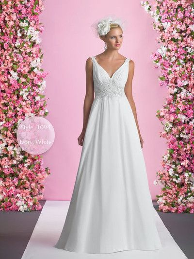 Chiffon wedding dress with an illusion back - Style 1094 by Alexia designs bridal. Chiffon and lace with a beautiful sheer back. V neck.  www.alisonjanebridal.co.uk